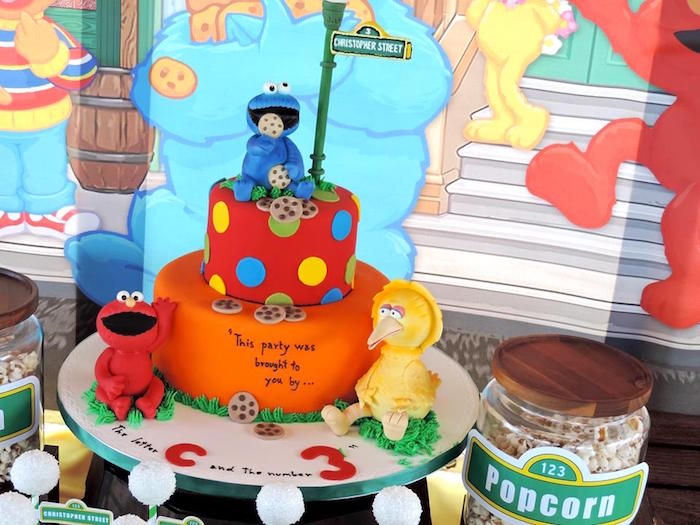 Cake from a Rustic Whimsical Sesame Street Birthday Party via Kara's Party Ideas | KarasPartyIdeas.com (22)