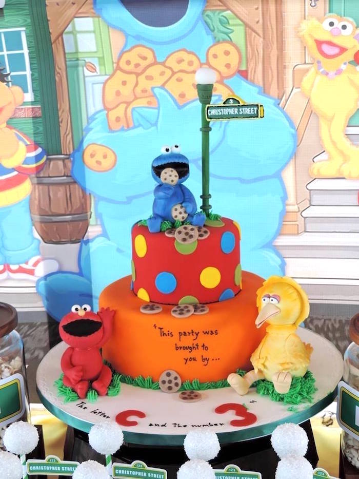 Cake from a Rustic Whimsical Sesame Street Birthday Party via Kara's Party Ideas | KarasPartyIdeas.com (21)