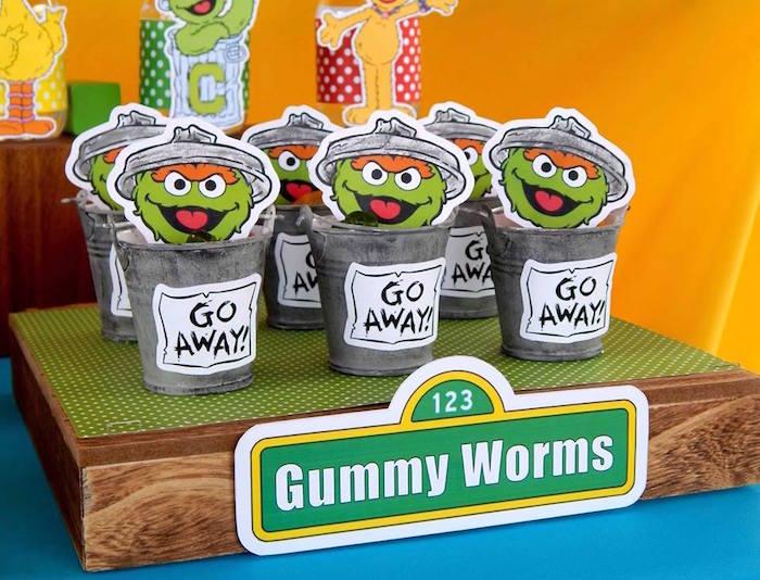 Oscar's Trash Can Favors filled with Gummy Worms from a Rustic Whimsical Sesame Street Birthday Party via Kara's Party Ideas | KarasPartyIdeas.com (19)