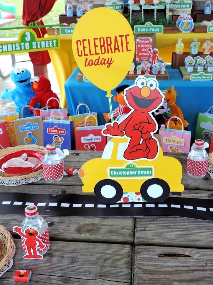 Guest Table Details from a Rustic Whimsical Sesame Street Birthday Party via Kara's Party Ideas | KarasPartyIdeas.com (18)