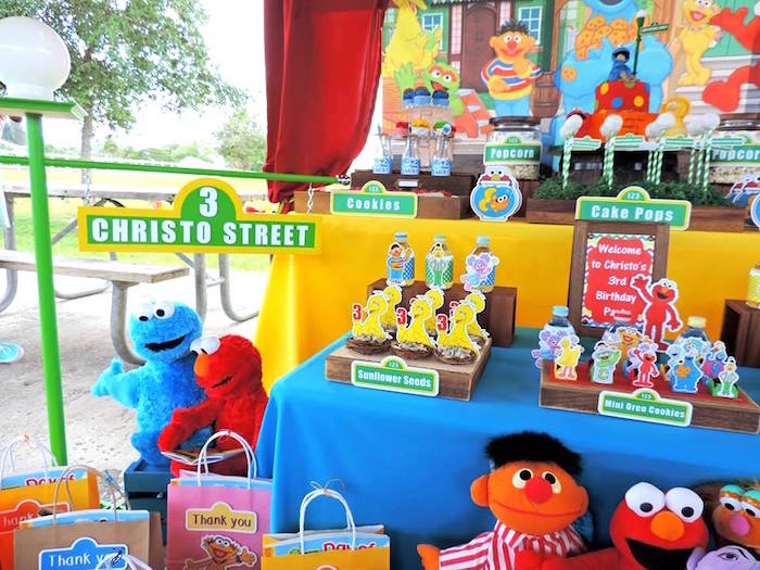 Sweet Table Details from a Rustic Whimsical Sesame Street Birthday Party via Kara's Party Ideas | KarasPartyIdeas.com (16)