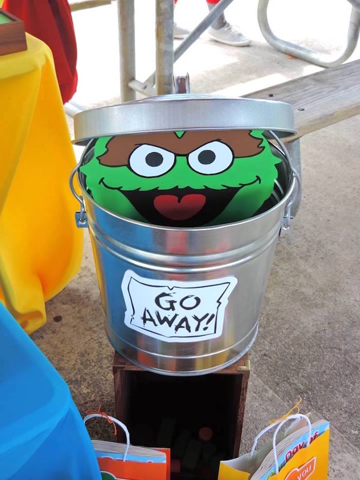 Oscar the Grouch + Trash Can from a Rustic Whimsical Sesame Street Birthday Party via Kara's Party Ideas | KarasPartyIdeas.com (14)