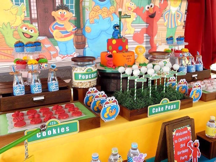 Sweet Table Details From A Rustic Whimsical Sesame Street Birthday Party Via Kara S Ideas