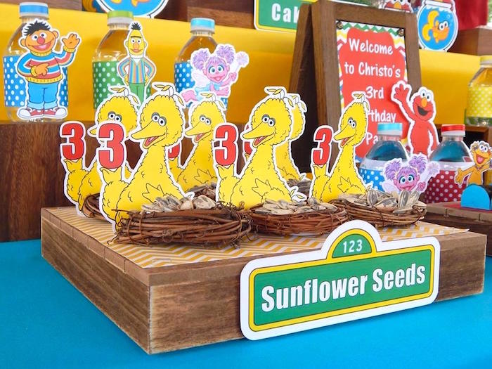 Sunflower Seed Favors from a Rustic Whimsical Sesame Street Birthday Party via Kara's Party Ideas | KarasPartyIdeas.com (9)