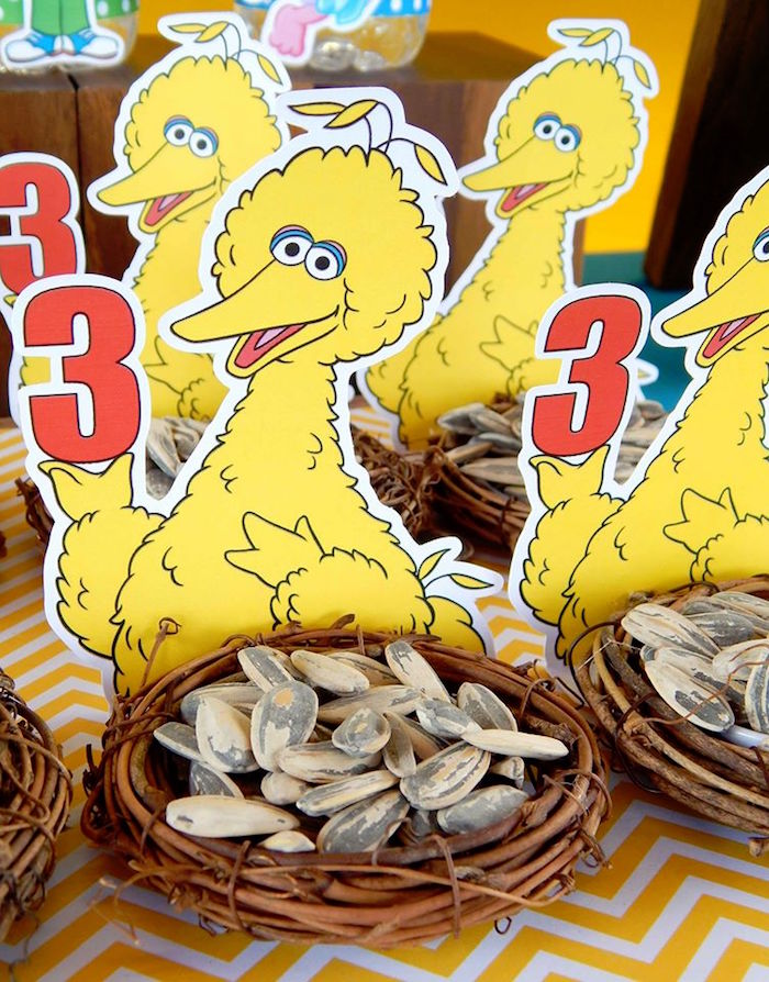 Big Bird's nest Favors filled with Sunflower Seeds from a Rustic Whimsical Sesame Street Birthday Party via Kara's Party Ideas | KarasPartyIdeas.com (7)