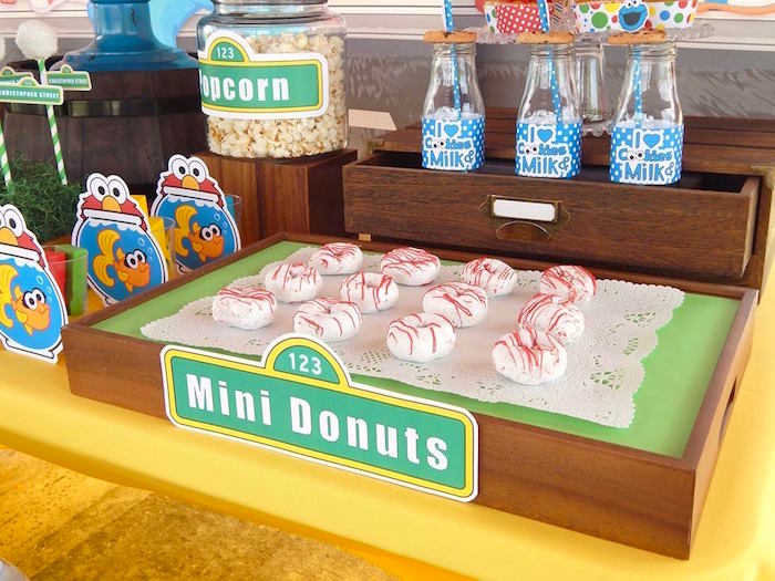 Mini Donuts from a Rustic Whimsical Sesame Street Birthday Party via Kara's Party Ideas | KarasPartyIdeas.com (5)