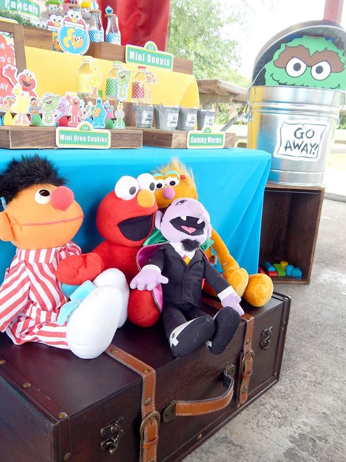 Plush Characters from a Rustic Whimsical Sesame Street Birthday Party via Kara's Party Ideas | KarasPartyIdeas.com (3)