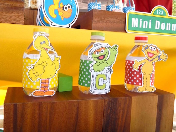 Water Bottles from a Rustic Whimsical Sesame Street Birthday Party via Kara's Party Ideas | KarasPartyIdeas.com (2)