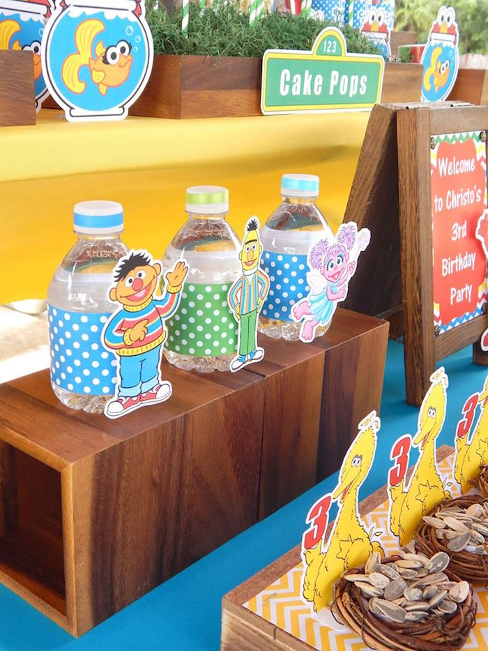 Water Bottles from a Rustic Whimsical Sesame Street Birthday Party via Kara's Party Ideas | KarasPartyIdeas.com (39)