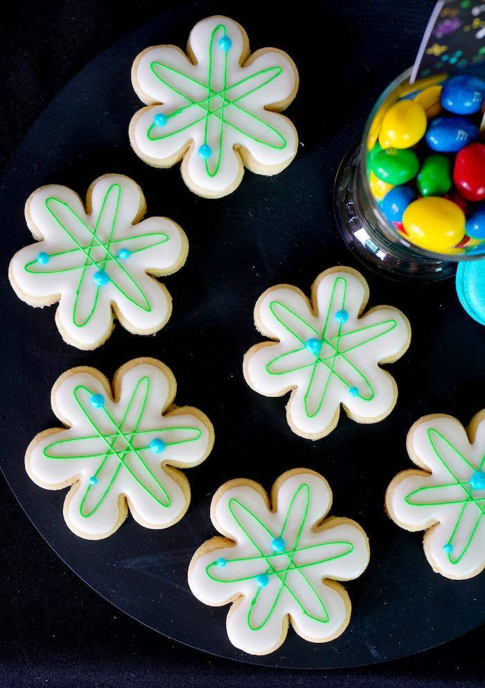 Atom Cookies from a Scientist Themed Birthday Party via Kara's Party Ideas | KarasPartyIdeas.com (14)