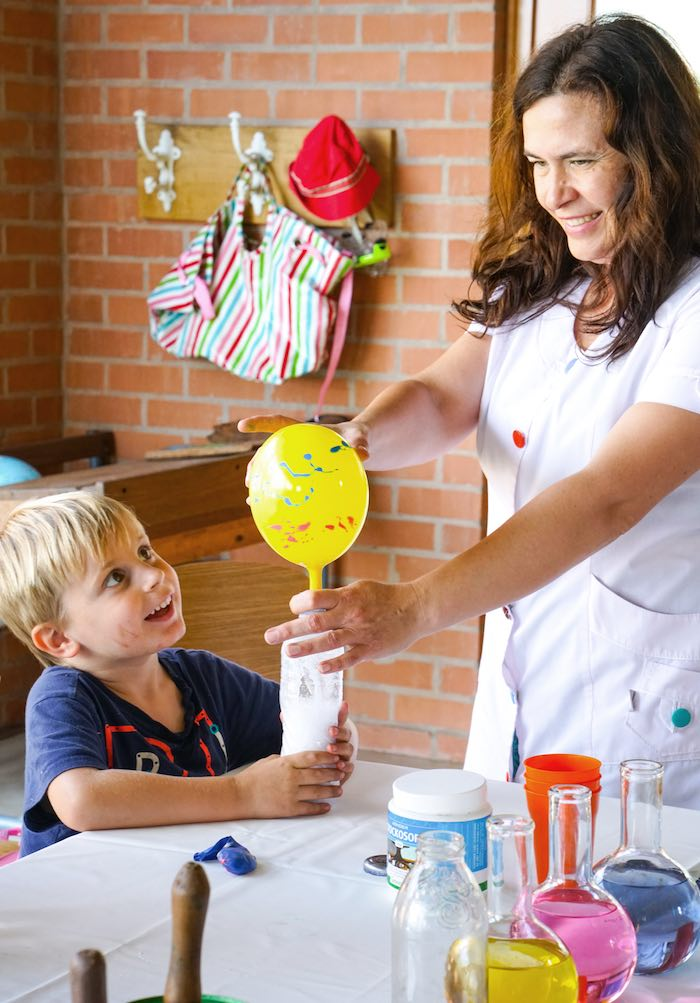 Little Scientist Experimenting from a Scientist Themed Birthday Party via Kara's Party Ideas | KarasPartyIdeas.com (6)