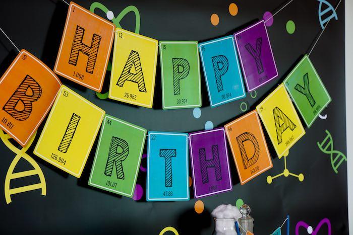 Banner from a Scientist Themed Birthday Party via Kara's Party Ideas | KarasPartyIdeas.com (22)