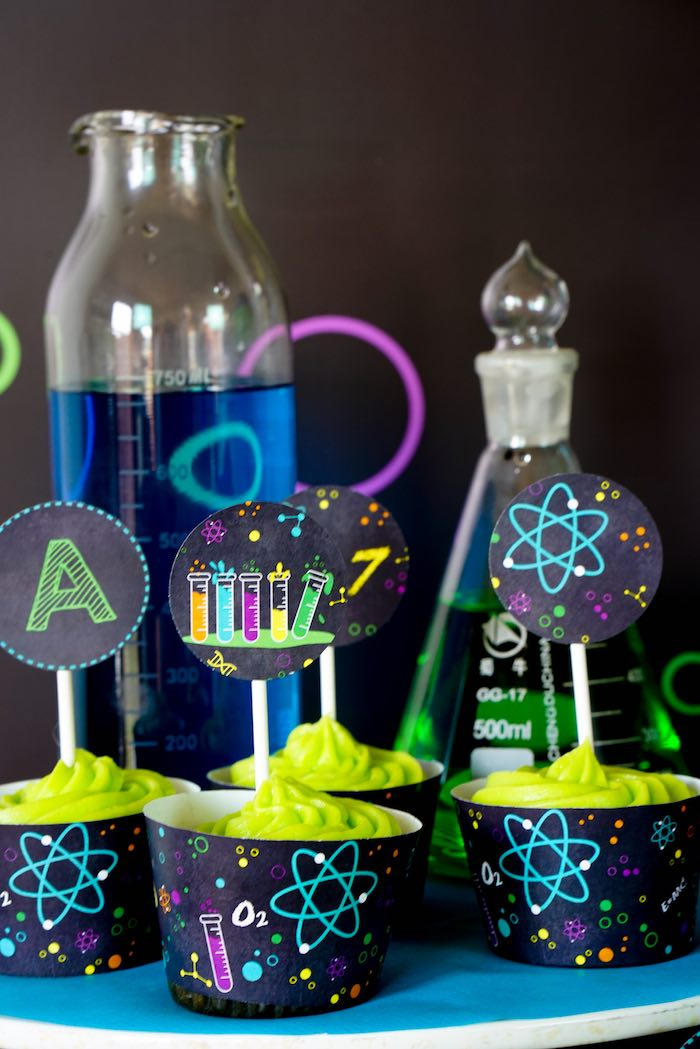 Cupcakes from a Scientist Themed Birthday Party via Kara's Party Ideas | KarasPartyIdeas.com (17)