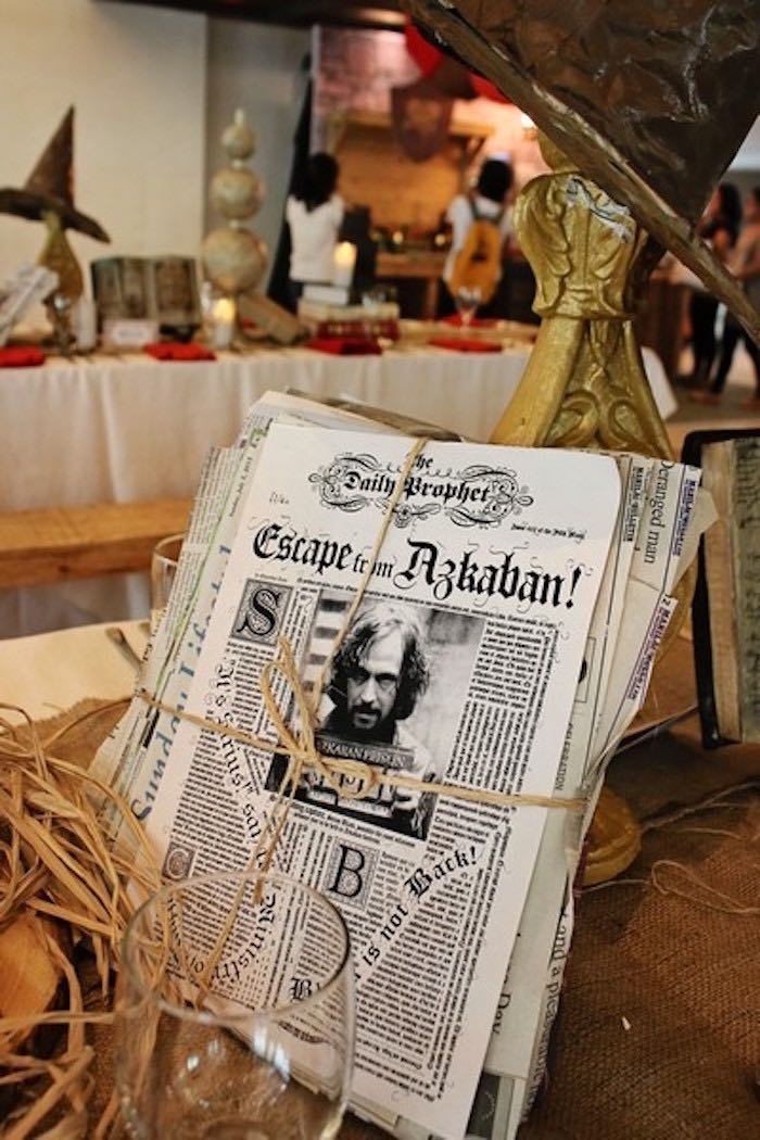 Newspaper Bunch Centerpiece from a Boy Who Lived - Harry Potter Birthday Party via Kara's Party Ideas | KarasPartyIdeas.com (40)