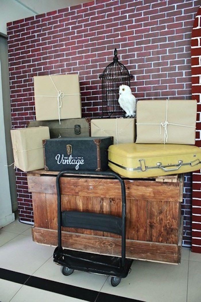 Travel Cart + Suitcase Decor Display from a Boy Who Lived - Harry Potter Birthday Party via Kara's Party Ideas | KarasPartyIdeas.com (30)