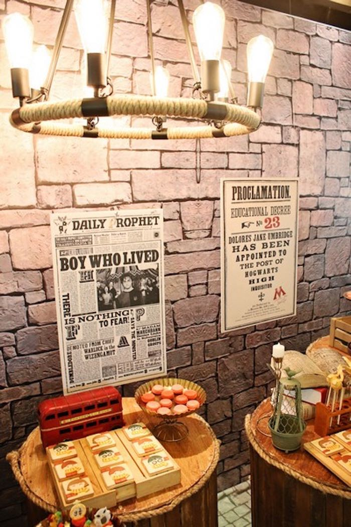 Sweet Table + Display Details from a Boy Who Lived - Harry Potter Birthday Party via Kara's Party Ideas | KarasPartyIdeas.com (20)
