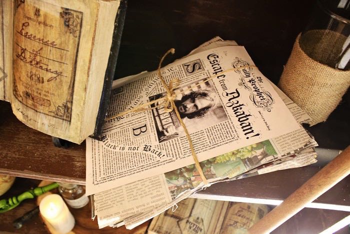 Newspaper Bunch from a Boy Who Lived - Harry Potter Birthday Party via Kara's Party Ideas | KarasPartyIdeas.com (17)