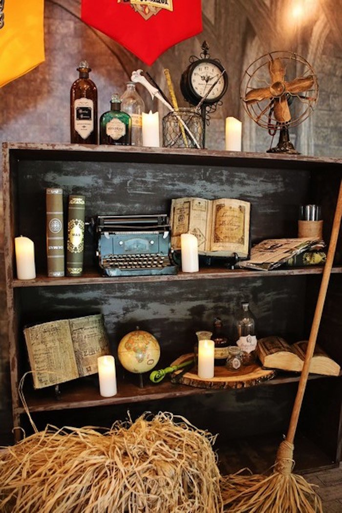 Decor Shelf from a Boy Who Lived - Harry Potter Birthday Party via Kara's Party Ideas | KarasPartyIdeas.com (47)