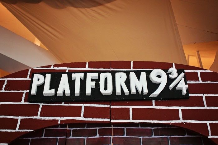 Platform 9 3/4 Backdrop Sign from a Boy Who Lived - Harry Potter Birthday Party via Kara's Party Ideas | KarasPartyIdeas.com (7)