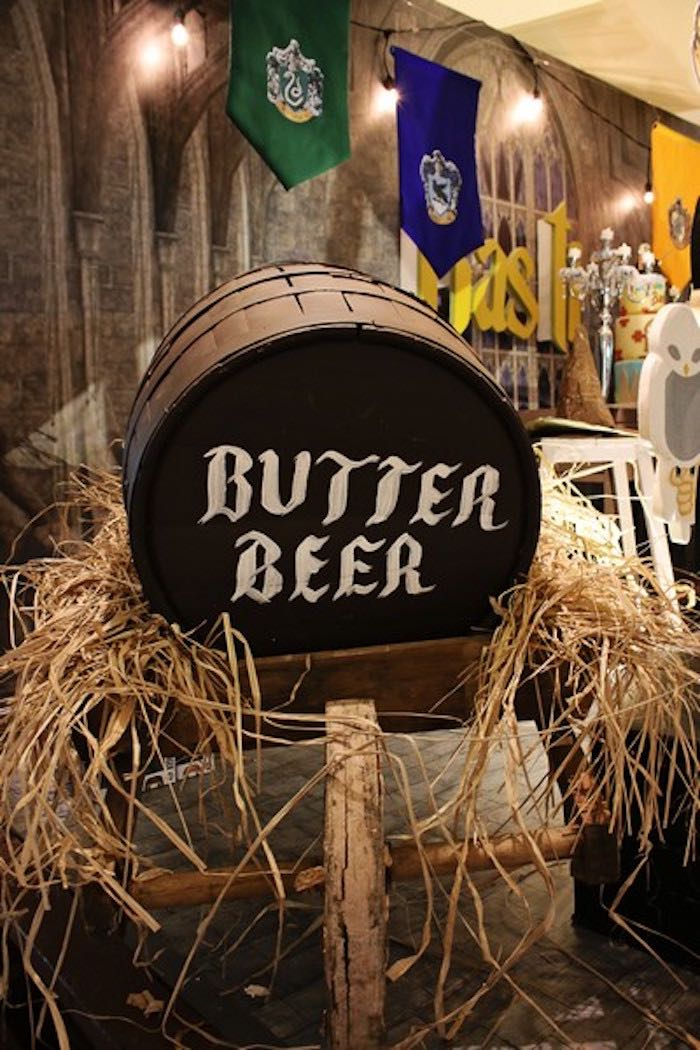 Butter Beer Barrel Decoration from a Boy Who Lived - Harry Potter Birthday Party via Kara's Party Ideas | KarasPartyIdeas.com (4)