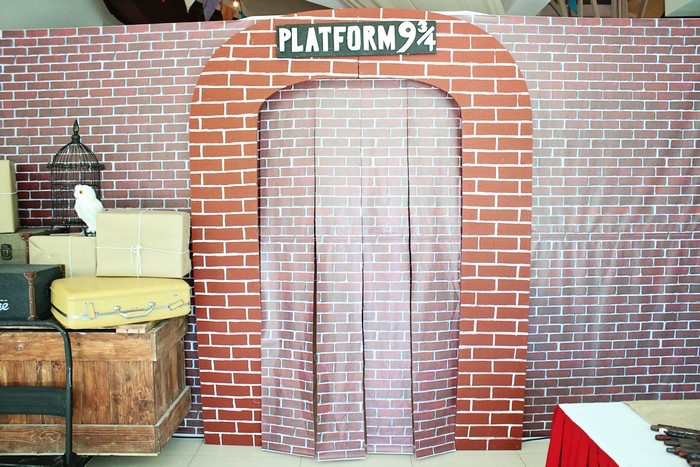 Platform 9 3/4 from a Boy Who Lived - Harry Potter Birthday Party via Kara's Party Ideas | KarasPartyIdeas.com (45)