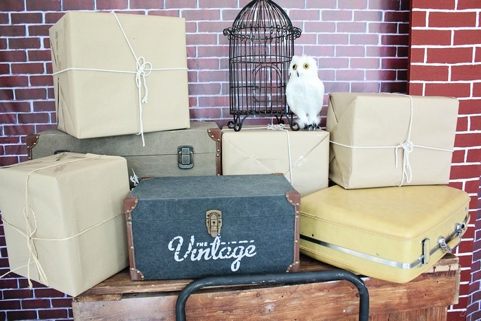 Stacked Suitcases + Packages + Misc. Items from a Boy Who Lived - Harry Potter Birthday Party via Kara's Party Ideas | KarasPartyIdeas.com (42)