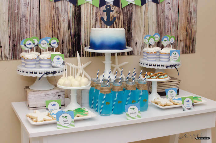 Sweet Table Details from an Under The Sea Birthday Party via Kara's Party Ideas - KarasPartyIdeas.com (14)