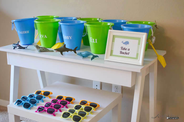 Beach Pail + Sunglass Favors from an Under The Sea Birthday Party via Kara's Party Ideas - KarasPartyIdeas.com (12)