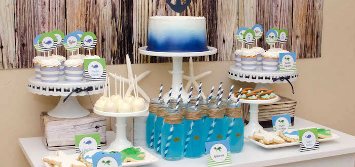 Head Table Details from an Under The Sea Birthday Party via Kara's Party Ideas - KarasPartyIdeas.com (2)