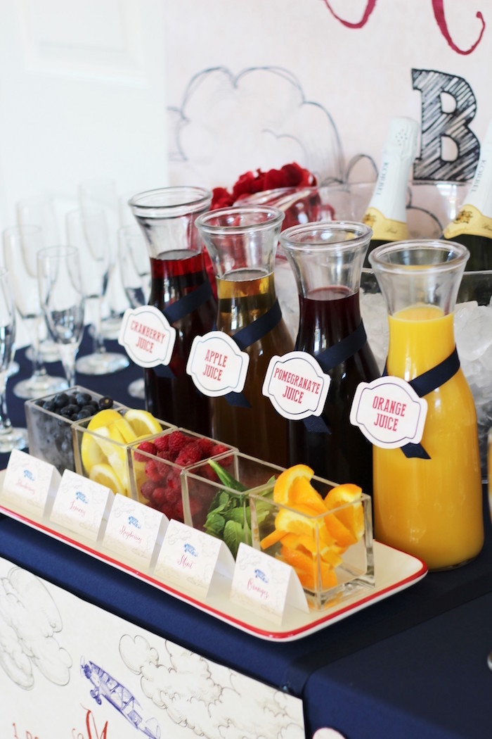 Fresh Fruit & Flavoring for Mimosas from a Vintage Airplane Baby Shower via Kara's Party Ideas - KarasPartyIdeas.com (14)