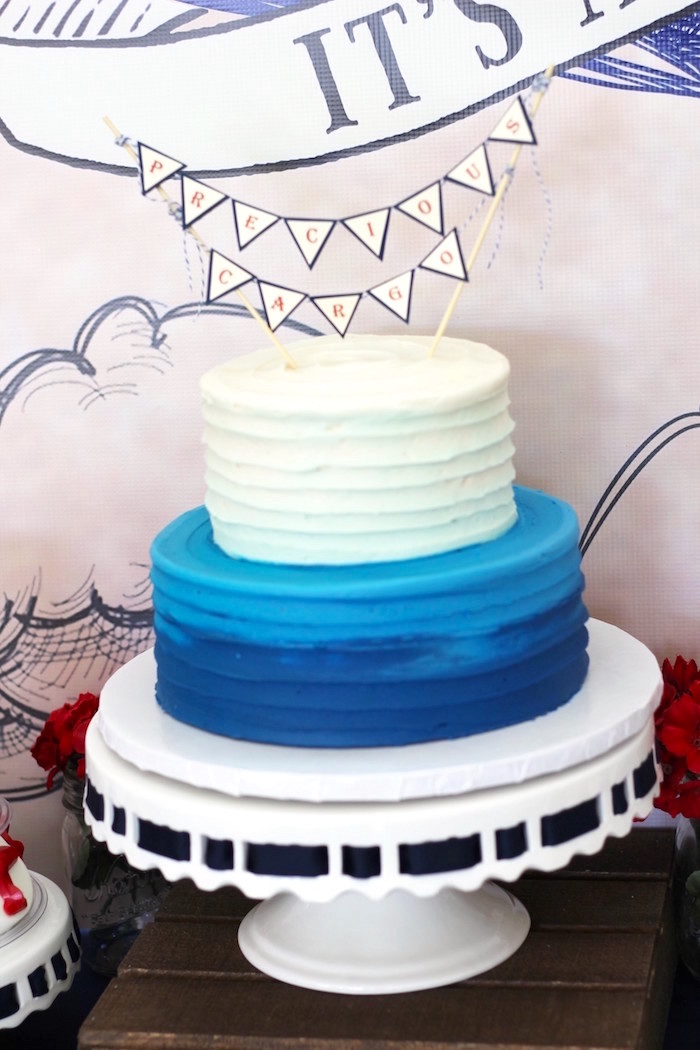 Cake from a Vintage Airplane Baby Shower via Kara's Party Ideas - KarasPartyIdeas.com (13)