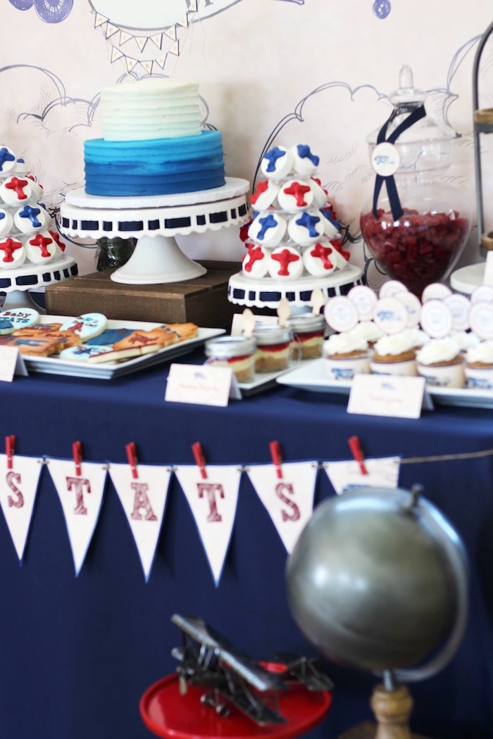 Side of a Sweet Table from a Vintage Airplane Baby Shower via Kara's Party Ideas - KarasPartyIdeas.com (11)