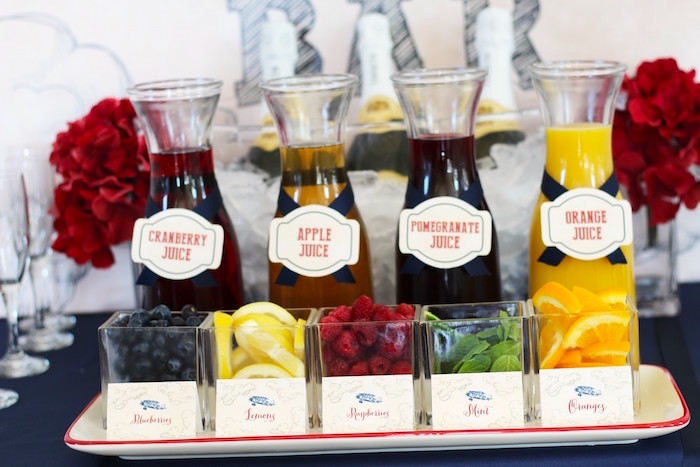 Mimosa Bar Flavoring + Fresh Fruit from a Vintage Airplane Baby Shower via Kara's Party Ideas - KarasPartyIdeas.com (10)
