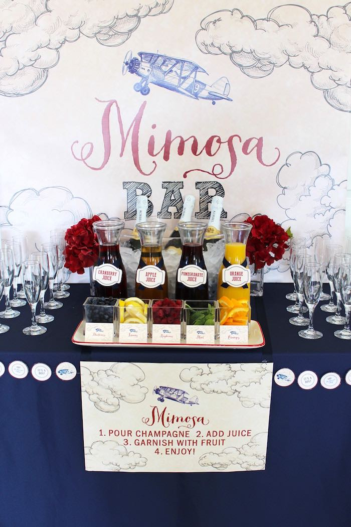 Mimosa Bar from a Vintage Airplane Baby Shower via Kara's Party Ideas - KarasPartyIdeas.com (8)