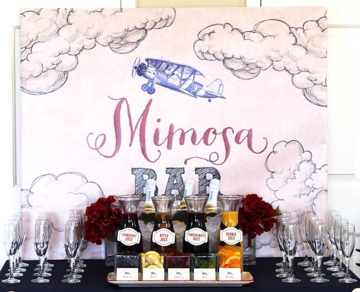 Mimosa Bar from a Vintage Airplane Baby Shower via Kara's Party Ideas - KarasPartyIdeas.com (7)