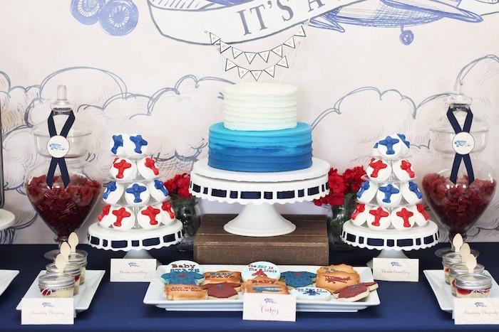 Dessert Table Details from a Vintage Airplane Baby Shower via Kara's Party Ideas - KarasPartyIdeas.com (3)