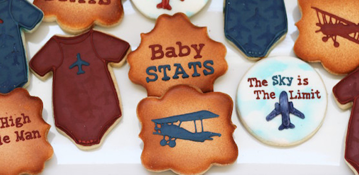 Cookies from a Vintage Airplane Baby Shower via Kara's Party Ideas - KarasPartyIdeas.com (1)