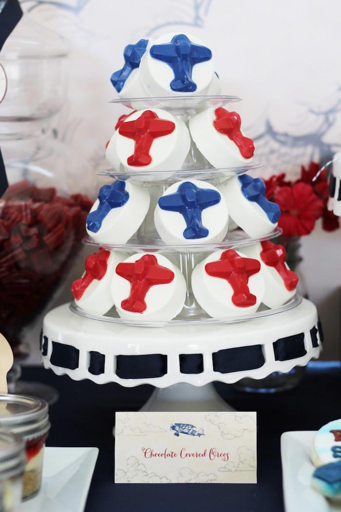 Chocolate Covered Oreos from a Vintage Airplane Baby Shower via Kara's Party Ideas - KarasPartyIdeas.com (30)