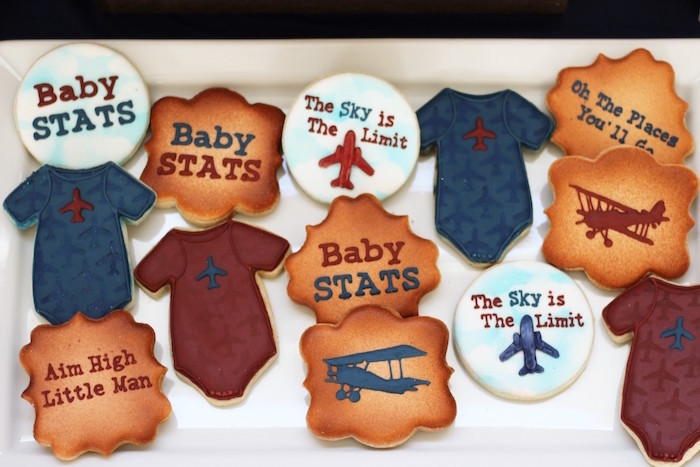 Cookies from a Vintage Airplane Baby Shower via Kara's Party Ideas - KarasPartyIdeas.com (29)