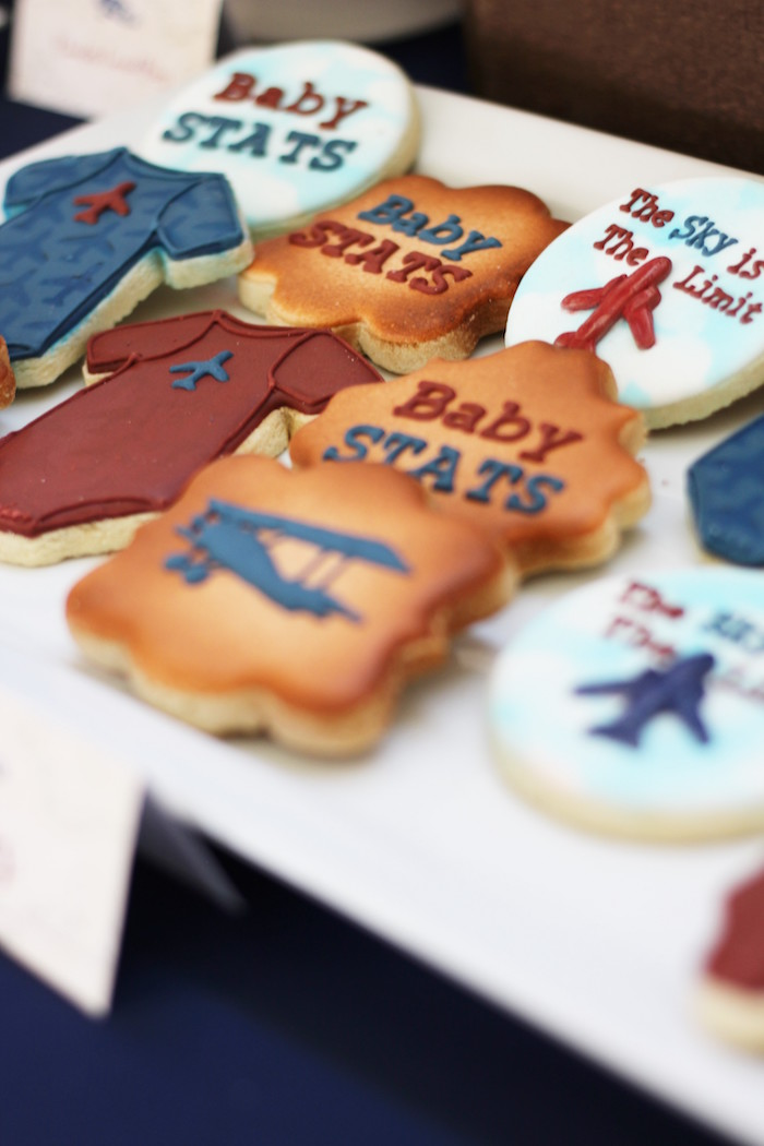 Cookies from a Vintage Airplane Baby Shower via Kara's Party Ideas - KarasPartyIdeas.com (28)
