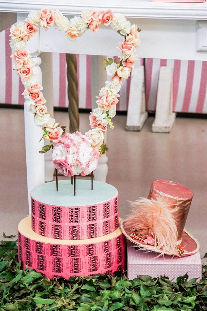 Floral Heart + Decor from a Vintage Carousel Birthday Party via Kara's Party Ideas - KarasPartyIdeas.com (25)