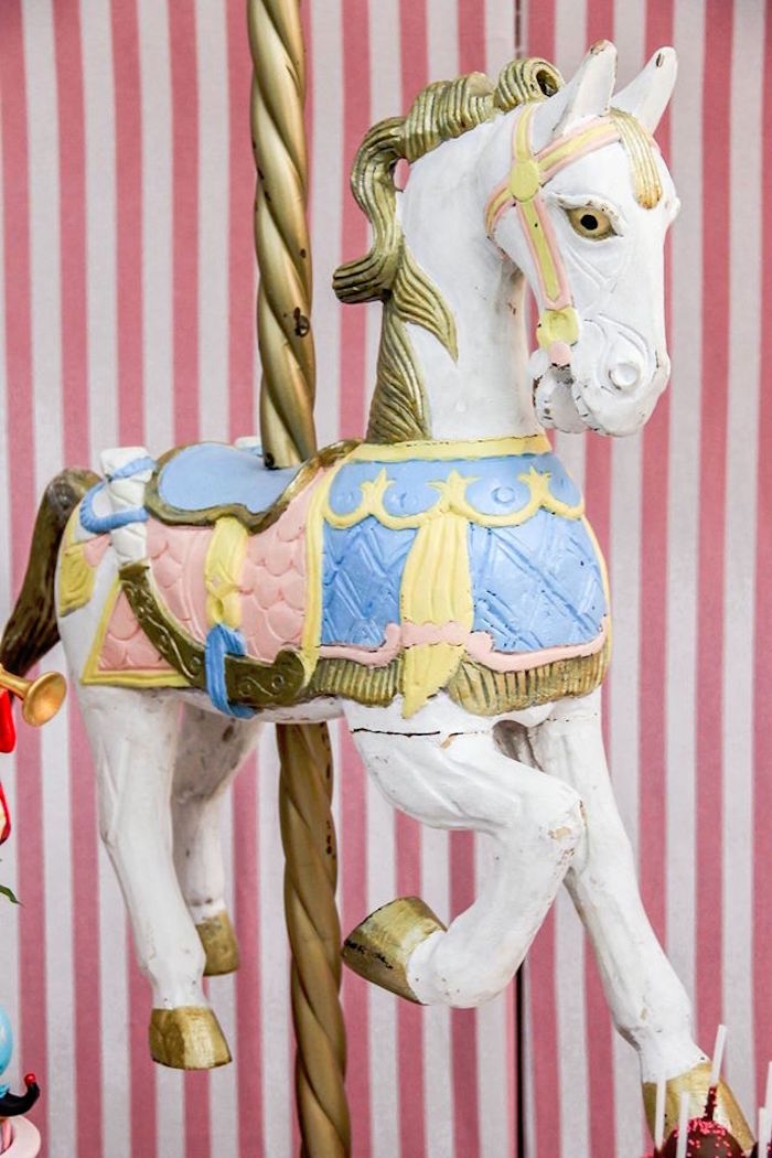 Carousel Horse Decoration from a Vintage Carousel Birthday Party via Kara's Party Ideas - KarasPartyIdeas.com (24)