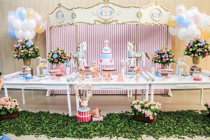 Party Setup + Dessert Table Display from a Vintage Carousel Birthday Party via Kara's Party Ideas - KarasPartyIdeas.com (20)