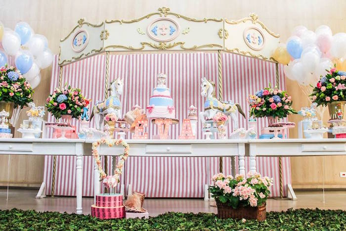 Dessert Table from a Vintage Carousel Birthday Party via Kara's Party Ideas - KarasPartyIdeas.com (19)