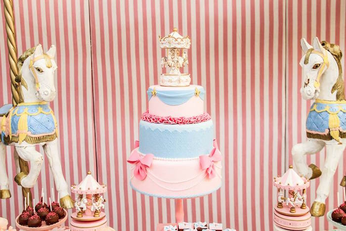 Cake Table Details from a Vintage Carousel Birthday Party via Kara's Party Ideas - KarasPartyIdeas.com (16)