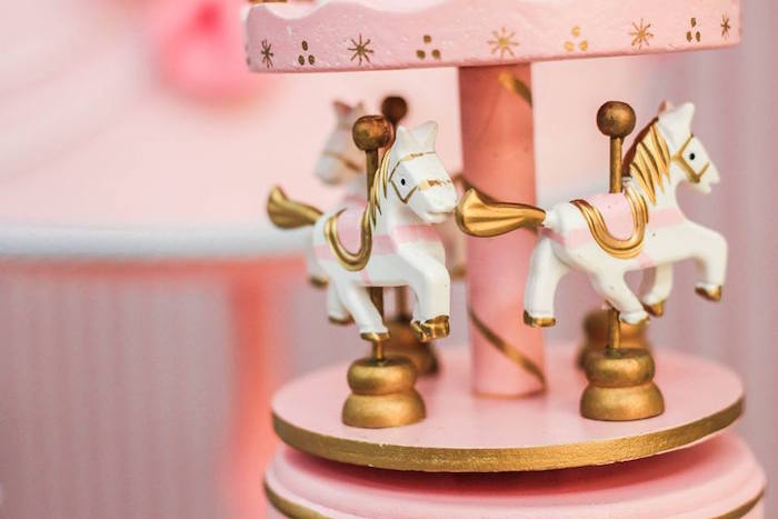 Carousel Decoration from a Vintage Carousel Birthday Party via Kara's Party Ideas - KarasPartyIdeas.com (13)
