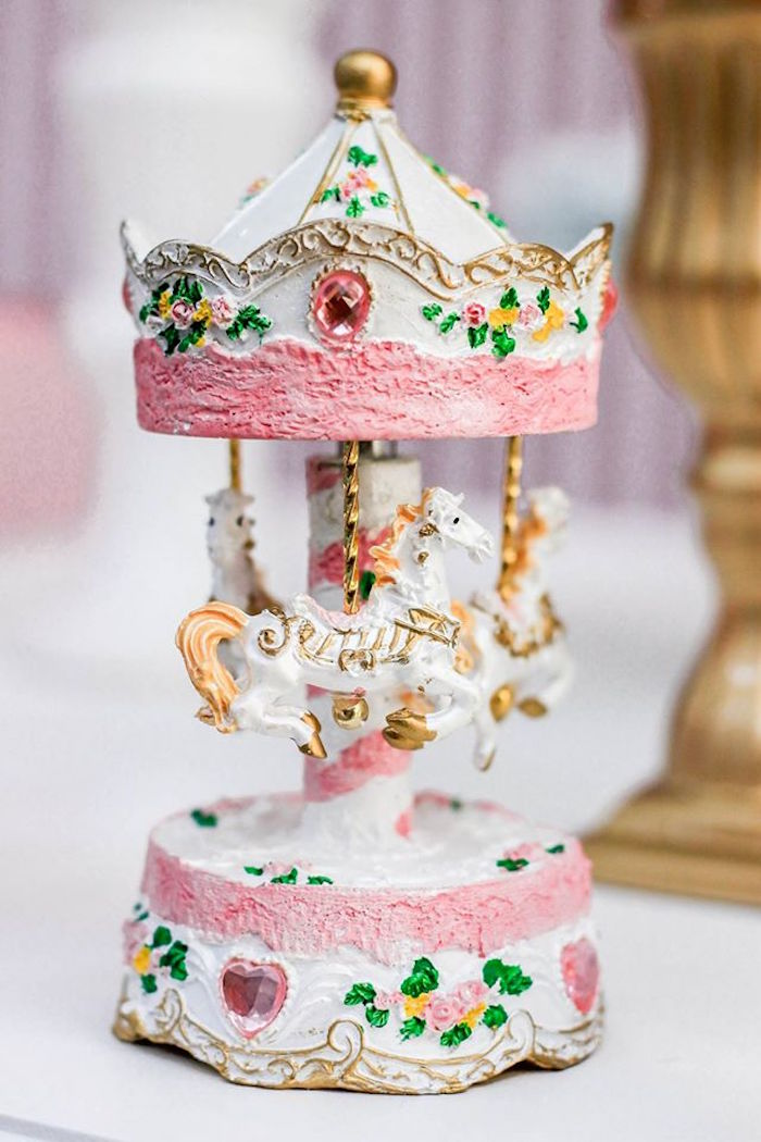 Carousel Decoration from a Vintage Carousel Birthday Party via Kara's Party Ideas - KarasPartyIdeas.com (7)