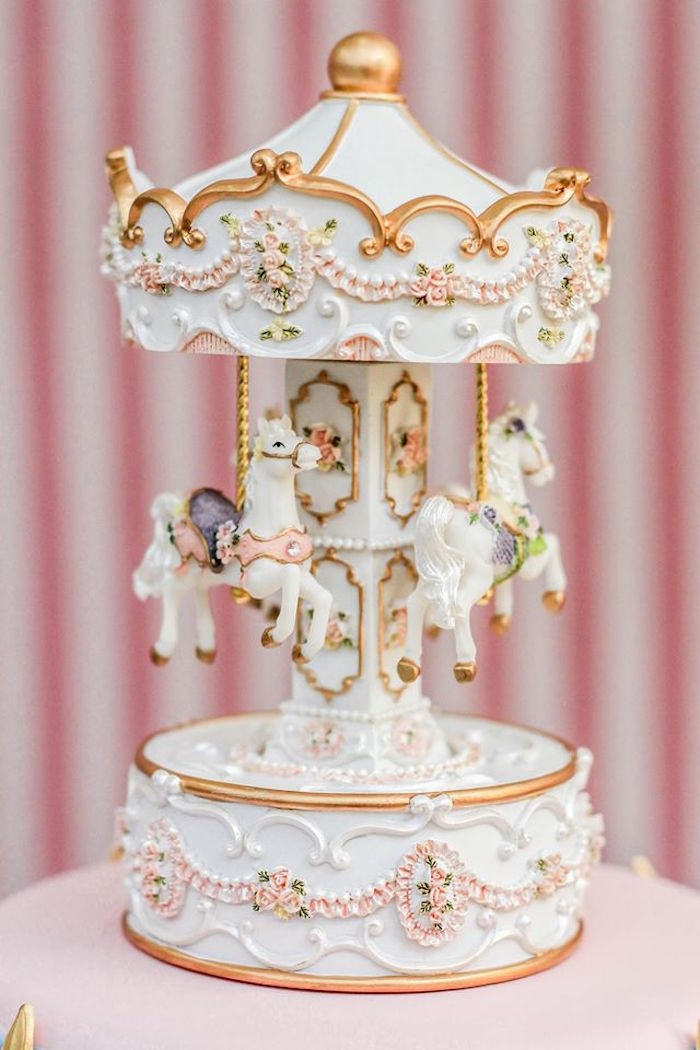 Vintage Carousel Cake Topper from a Vintage Carousel Birthday Party via Kara's Party Ideas - KarasPartyIdeas.com (6)