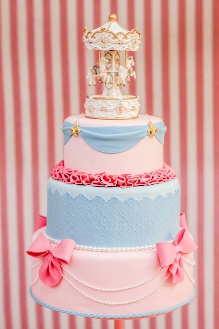 Cake from a Vintage Carousel Birthday Party via Kara's Party Ideas - KarasPartyIdeas.com (5)