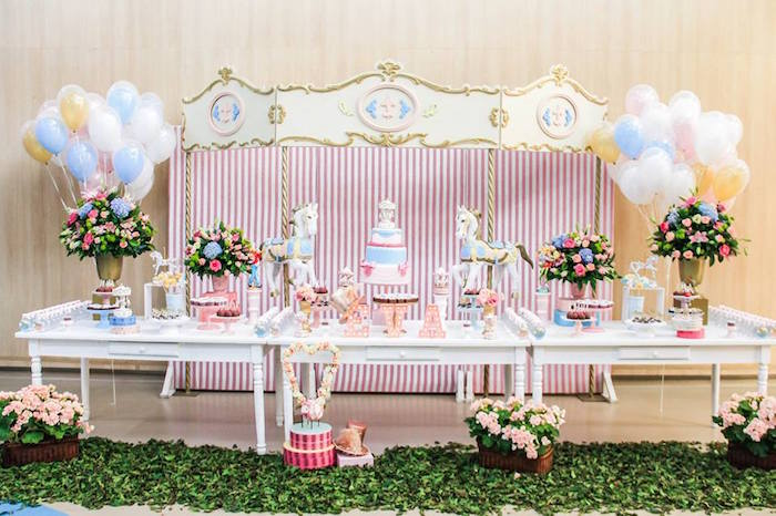 Karas Party Ideas Dessert Table Display from a Vintage Carousel